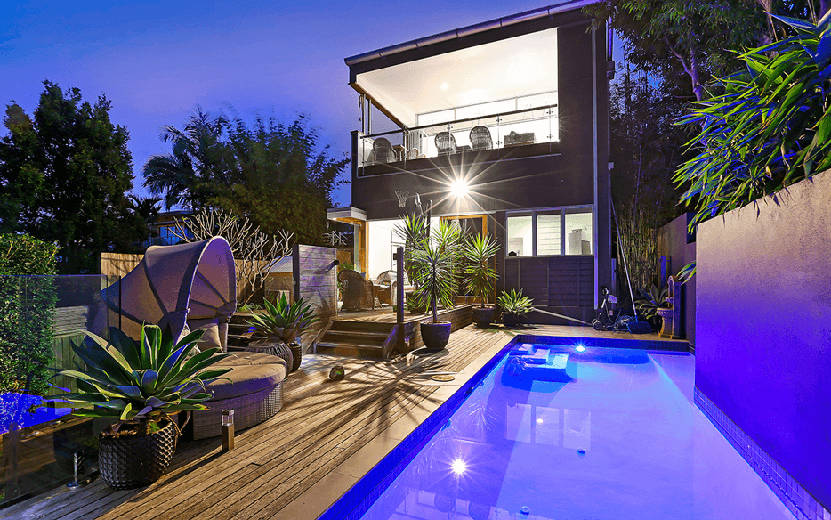 Vivid Productions Residential Photography Modern Architecture - Well Lighted Pool at Night