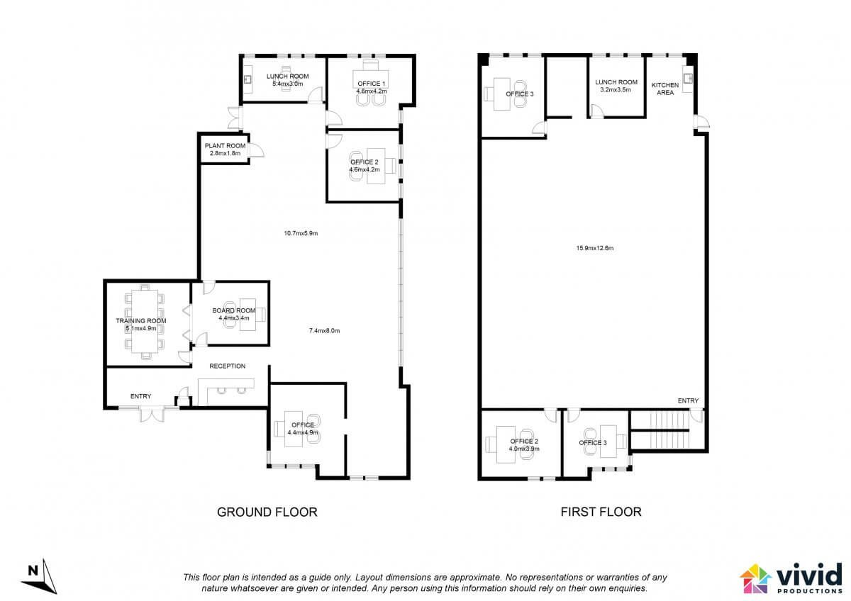 Vivid Productions Commercial Floor Plans Service - 2 Storey Building