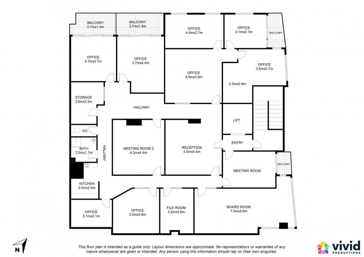 Vivid Productions Commercial Floor Plans Service - Multiple Rooms Office Building