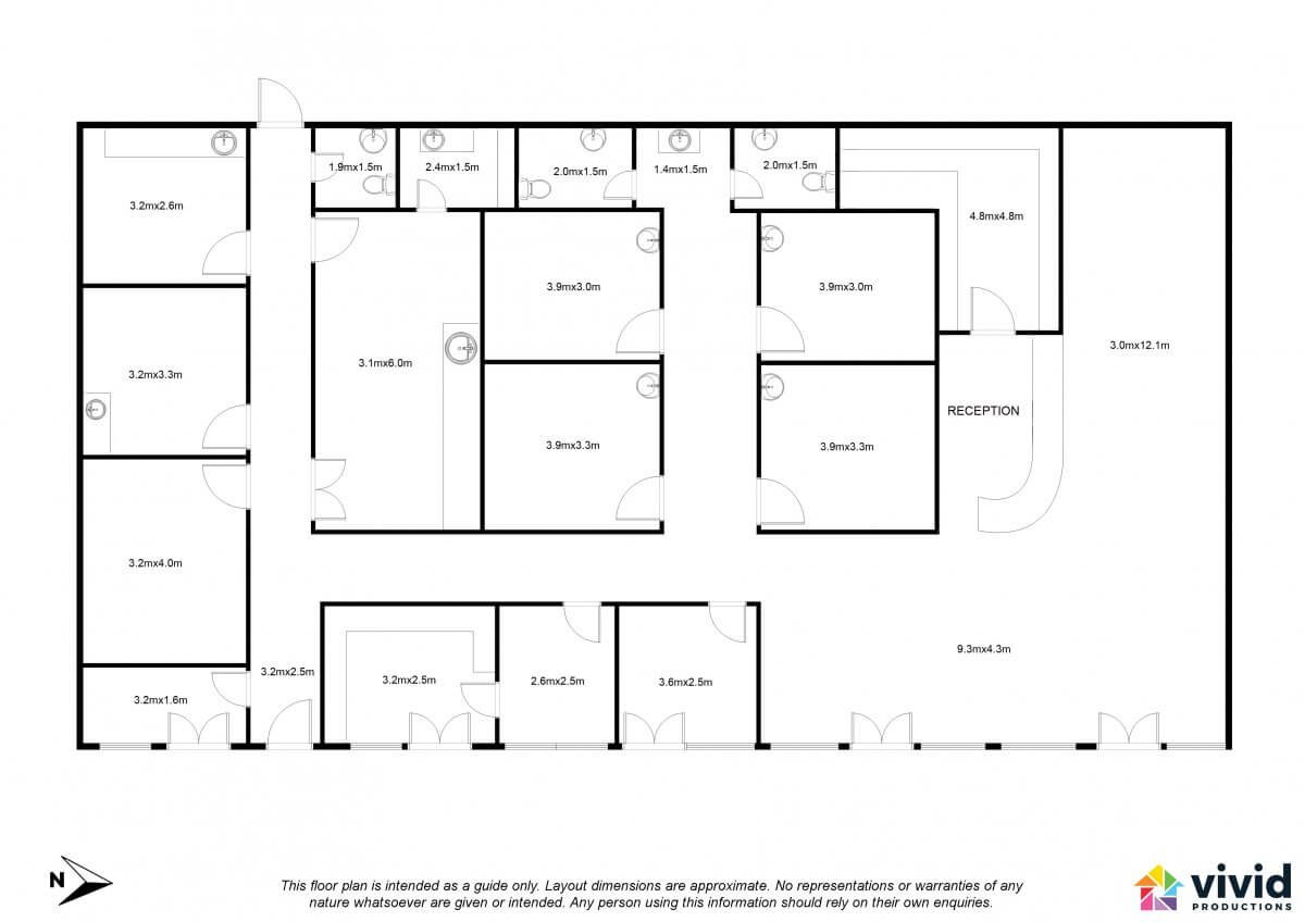 Vivid Productions Commercial Floor Plans Service - Multiple Division Building