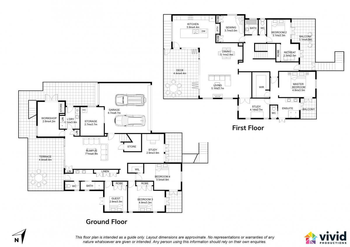 Vivid Productions Residential Floor Plans Service - 2 Carparks 3 Bedrooms